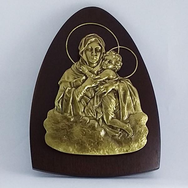 Mãe Rainha - Silhueta em relevo (Bronze com base de madeira)