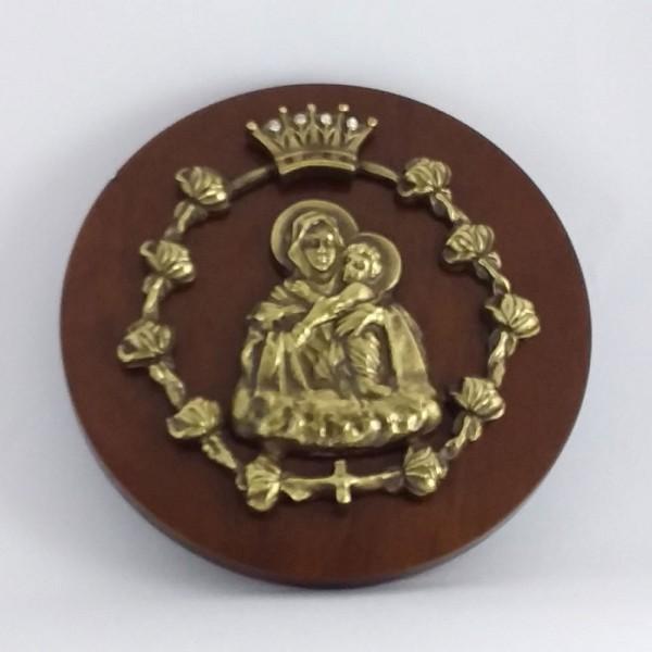 Mãe Rainha - Relevo moldura de rosa (Bronze)