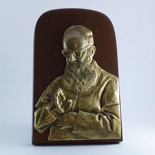 Pe. José Kentenich - Abençoando (Bronze com base de madeira)