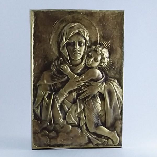 Mãe Rainha - Relevo retangular (Bronze-20 cm)
