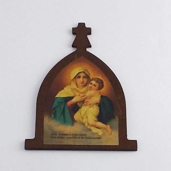 Imã Peregrina Mãe Rainha - MDF 10x6,5cm